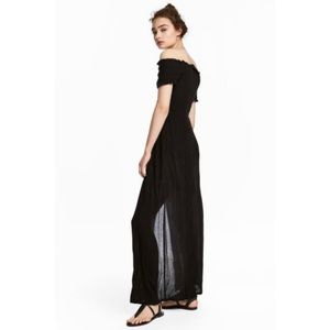 H&M Off the Shoulder Black Maxi Slit Dress